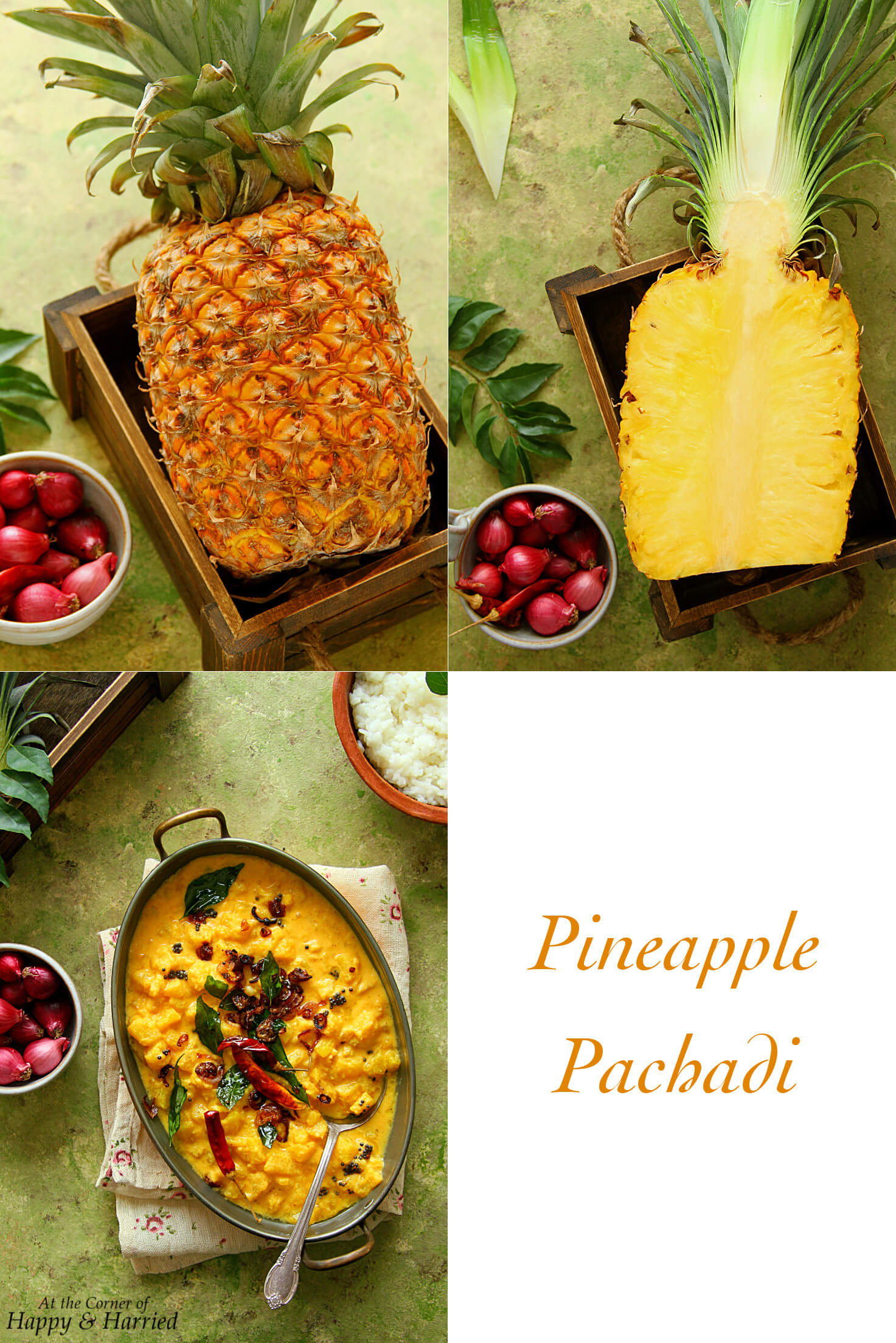 PINEAPPLE PACHADI {PINEAPPLE IN SPICED COCONUT-YOGURT CURRY} - HAPPY&HARRIED