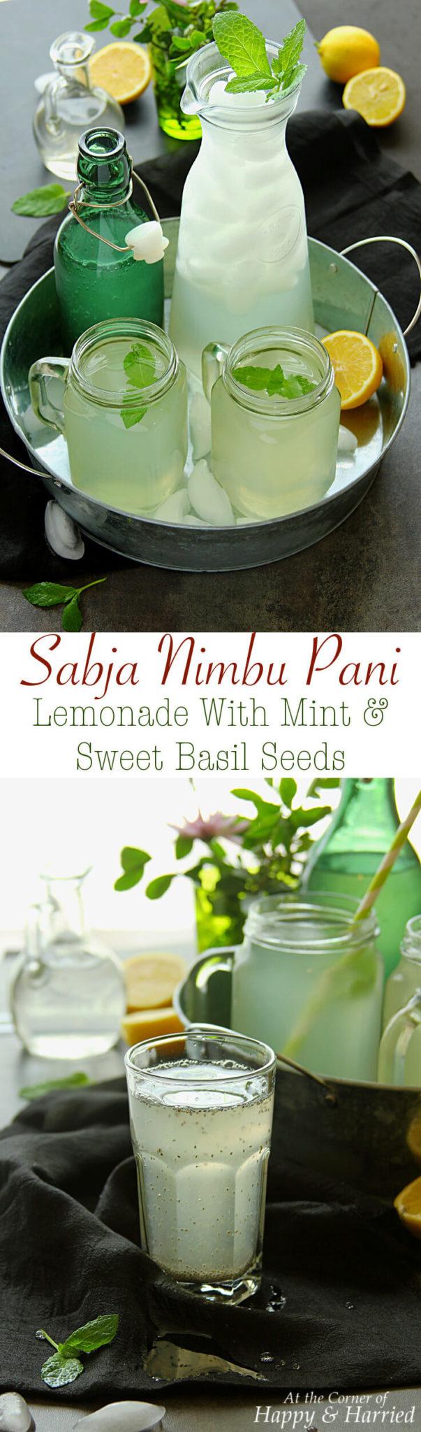 SABJA NIMBU PANI (LEMONADE WITH MINT & SWEET BASIL SEEDS) - HAPPY&HARRIED