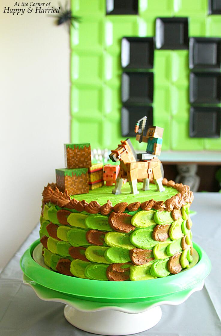 Minecraft Themed Birthday Cake