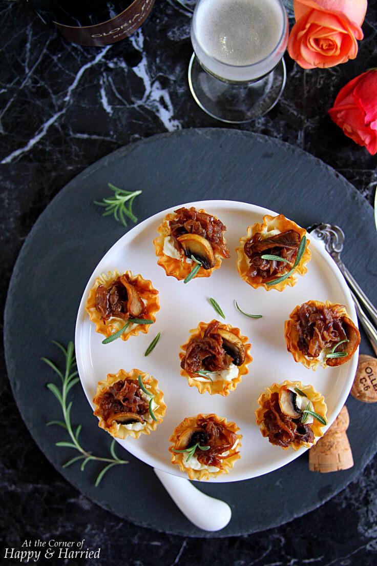 Caramelized Onion & Cream Cheese Phyllo Bites
