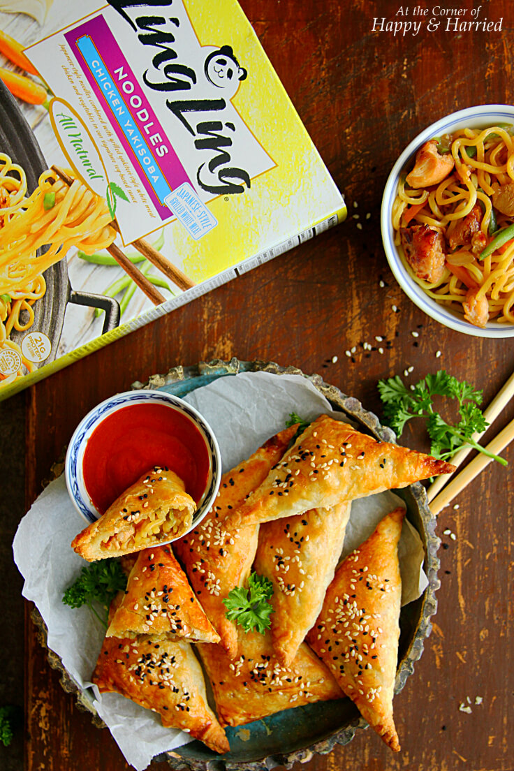 BAKED PUFF PASTRY CHICKEN NOODLE SAMOSA - HAPPY&HARRIED