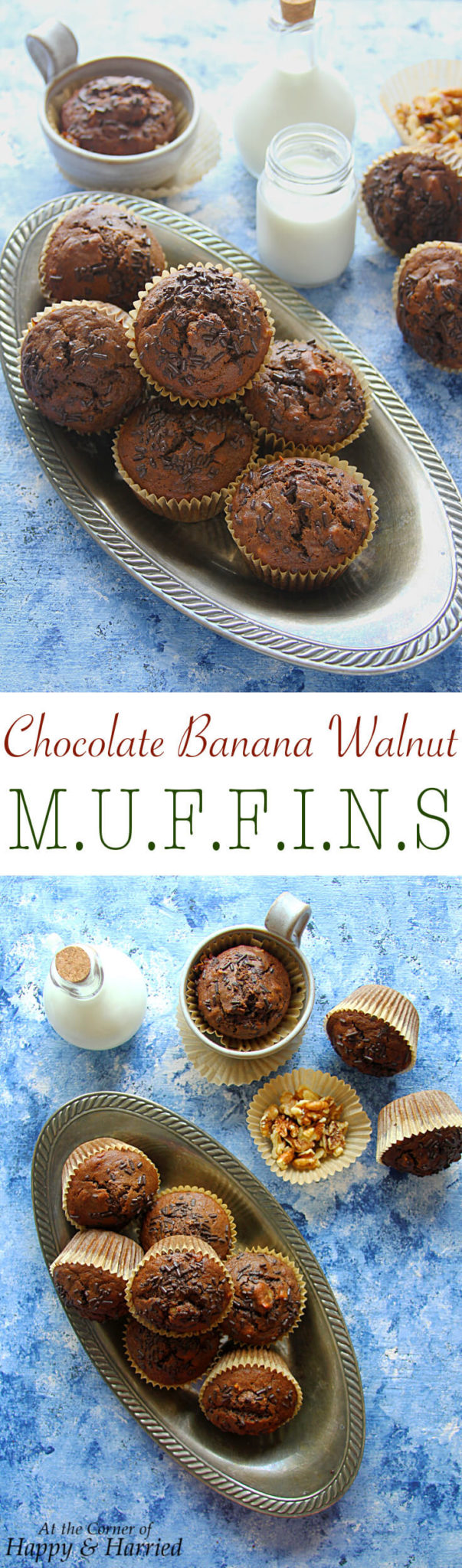 CHOCOLATE BANANA WALNUT MUFFINS - HAPPY&HARRIED