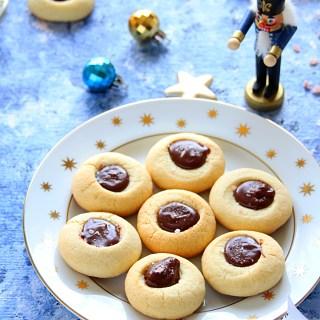 VANILLA THUMBPRINT COOKIES WITH CHOCOLATE GANACHE - HAPPY&HARRIED