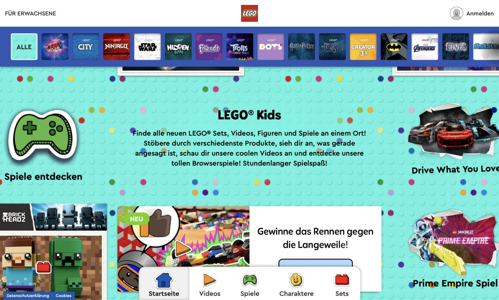 Screenshot der Marke Lego Spielwaren