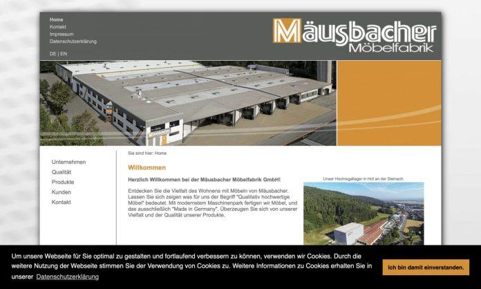 Screenshot der Marke Mäusbacher Möbel