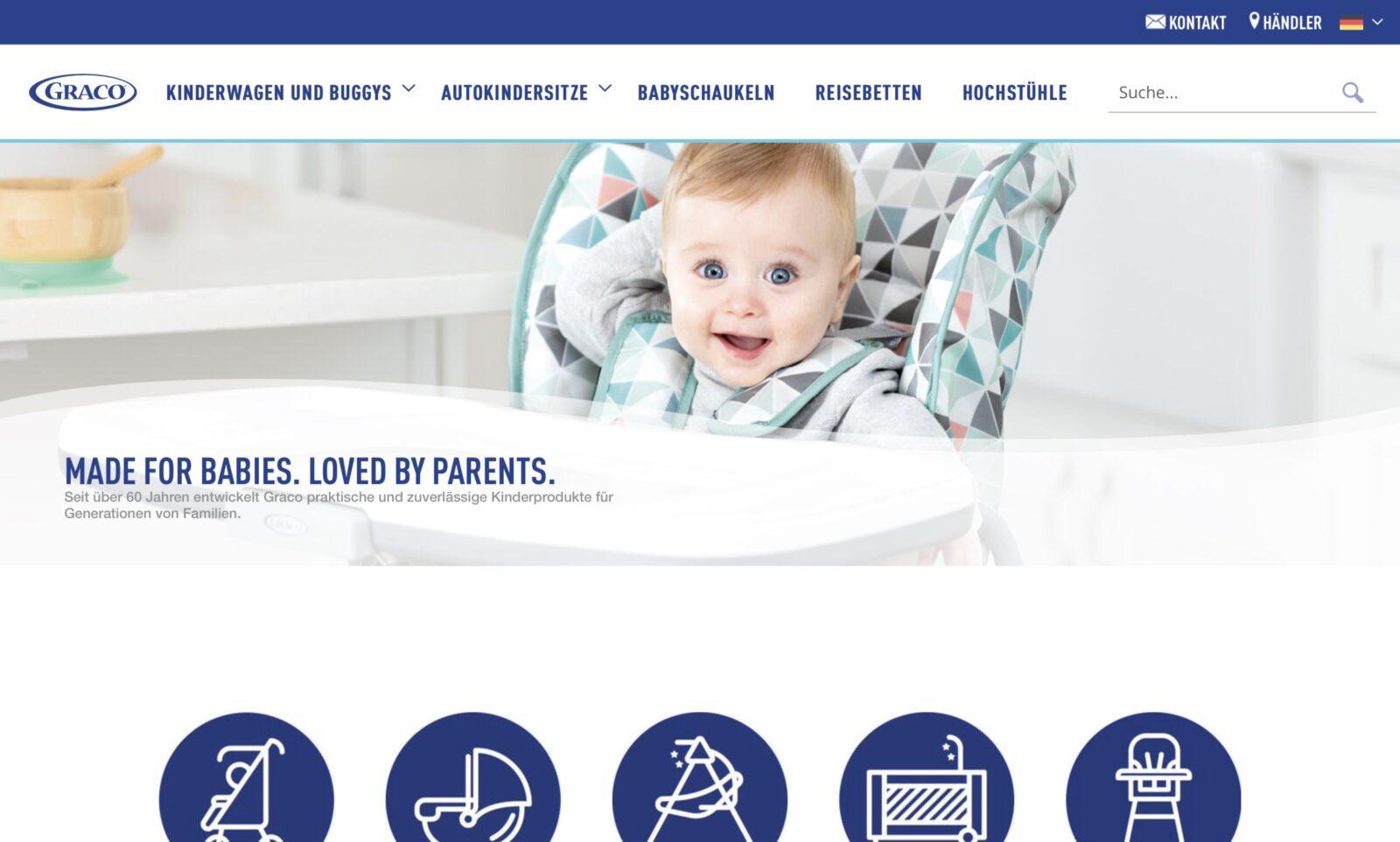 Screenshot der Marke Graco Autositze