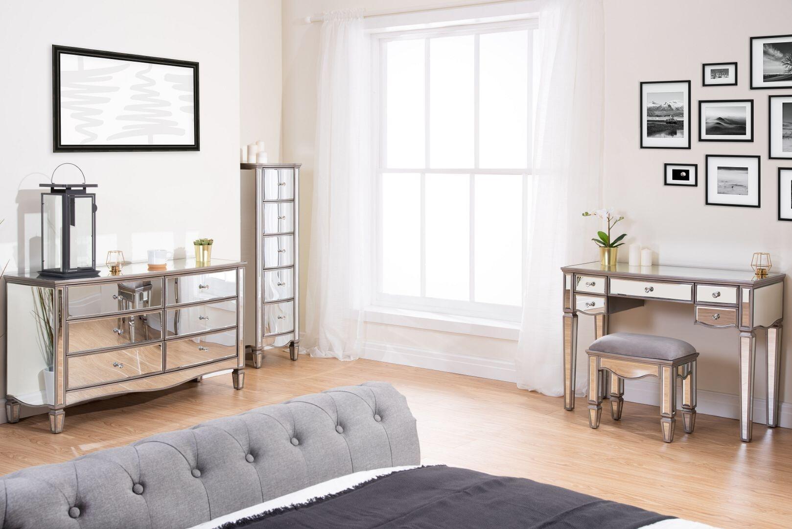 elysee mirrored wooden bedroom