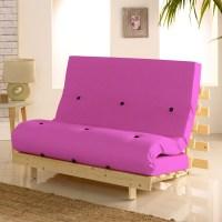 Metro Wooden Folding Guest Futon Pink Mattress
