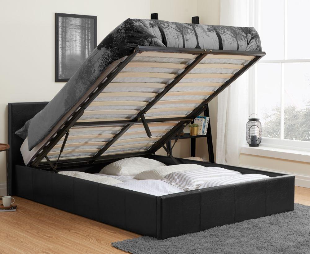 berlin black leather ottoman storage bed