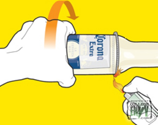 chauffer bouteille1 Fabriquez de jolis verres avec des bouteilles de bière usagées !