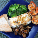 Halibut with Mushroom Wine Sauce ~ and bonus shrimp appetizer