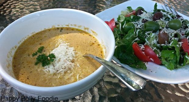 wild mushroom soup with salad