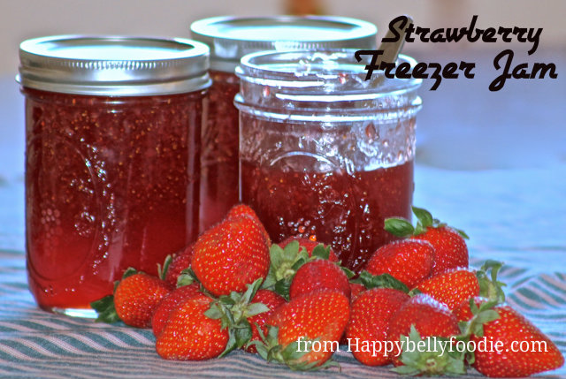 Easy No Cook Strawberry Freezer Jam. Four simple ingredients make this delicious recipe. from Happybellyfoodie.com