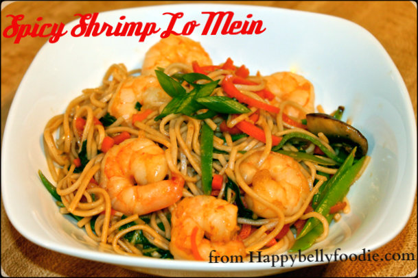 Spicy Shrimp Lo Mein is a terrific weeknight choice. Healthy, quick and happy! from Happybellyfoodie.com