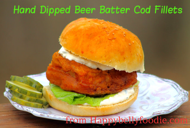 Hand Dipped Beer Batter Cod Fillets for the ultimate fish sandwich. from Happybellyfoodie.com