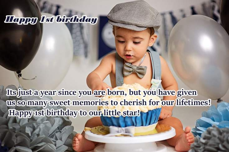 Excellent 100 Happy 1St Birthday Wishes For Baby Girl Baby Boy Personalised Birthday Cards Veneteletsinfo