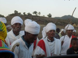 This picture shows a group of men celebrating a wedding in northern Ethiopia