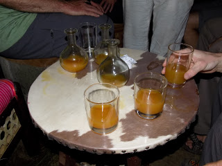 This photo shows several glasses of tej, the locally-produced honey wine