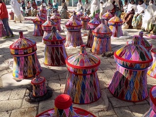 This photo shows colourful bridal baskets for sale in Aksum, northern Ethiopia