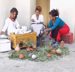 This photo shows three Ethiopian ladies conducting a traditional coffee ceremony at the stelae field in Aksum