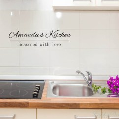 Kitchen Vinyl Designs For Small Kitchens Customized Name Decal Art Stickers Seasoned With Love