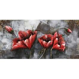 tableau sur bois metal 3d les coquelicots rouges l 120 cm