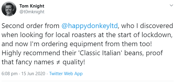 Image displaying a coffee roast happy donkey comment from twitter.