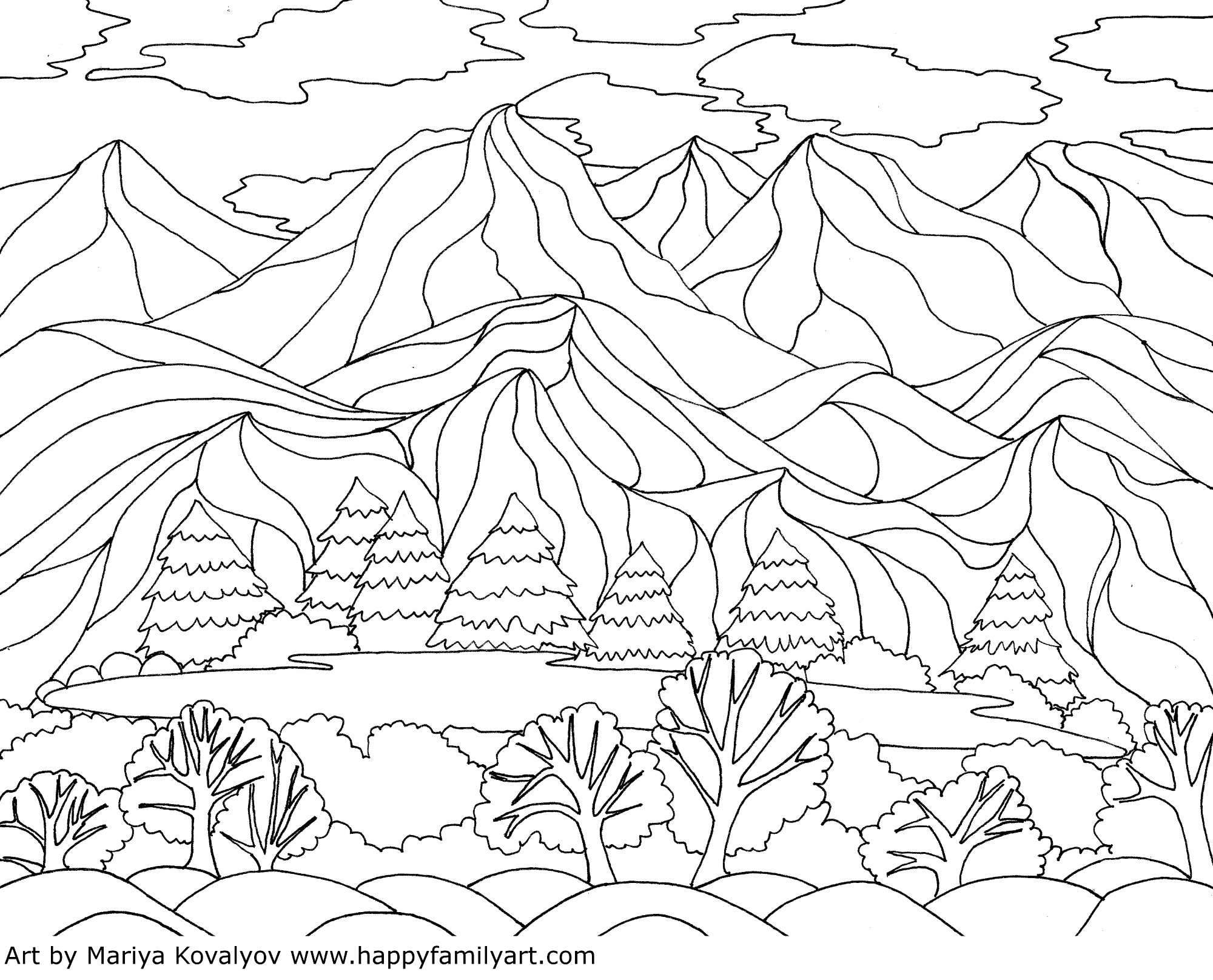 Coloring Pages Landscapes Mountains Coloring Page