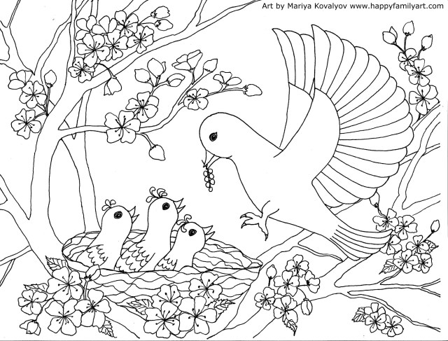 Birds Coloring Page - Happy Family Art