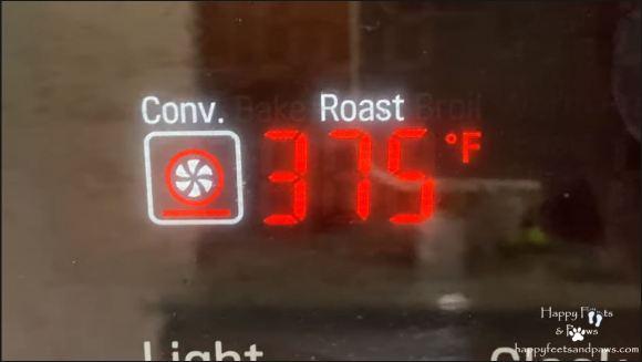preheating oven to 375 on display