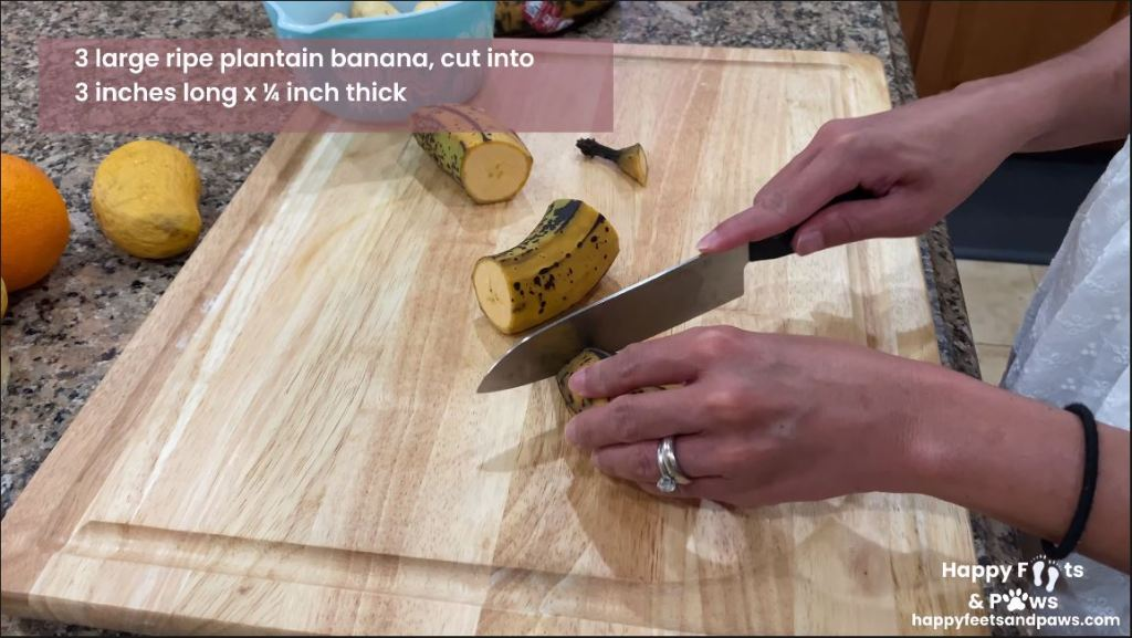woman cutting plantain bananas for Banana Rum Rolls recipe