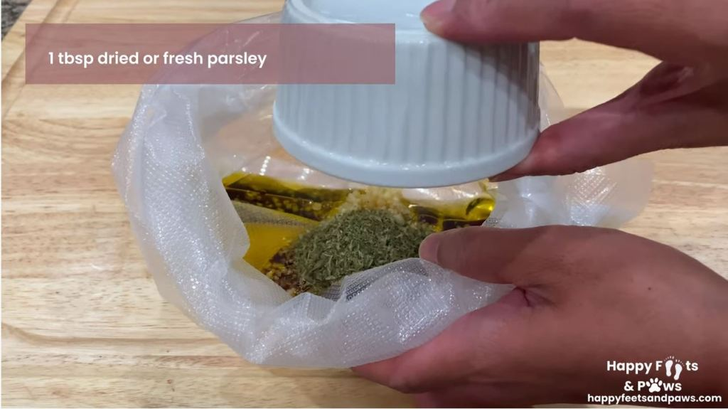 adding ingredients to vacuum seal bag for marinade mix