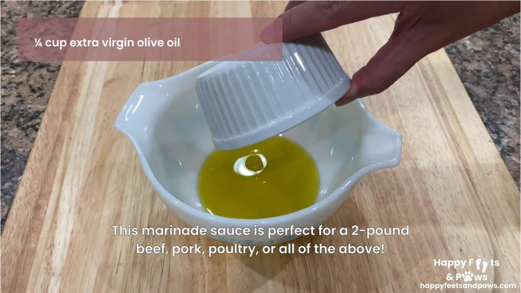 Adding virgin olive oil to bowl for chicken marinade recipe