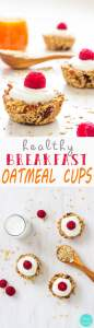 Heavenly Baked Breakfast Oatmeal Cups - Healthy breakfast, easy recipe loaded with dalicious ingredients, granola energy bars, good morning food | happyfoodstube.com