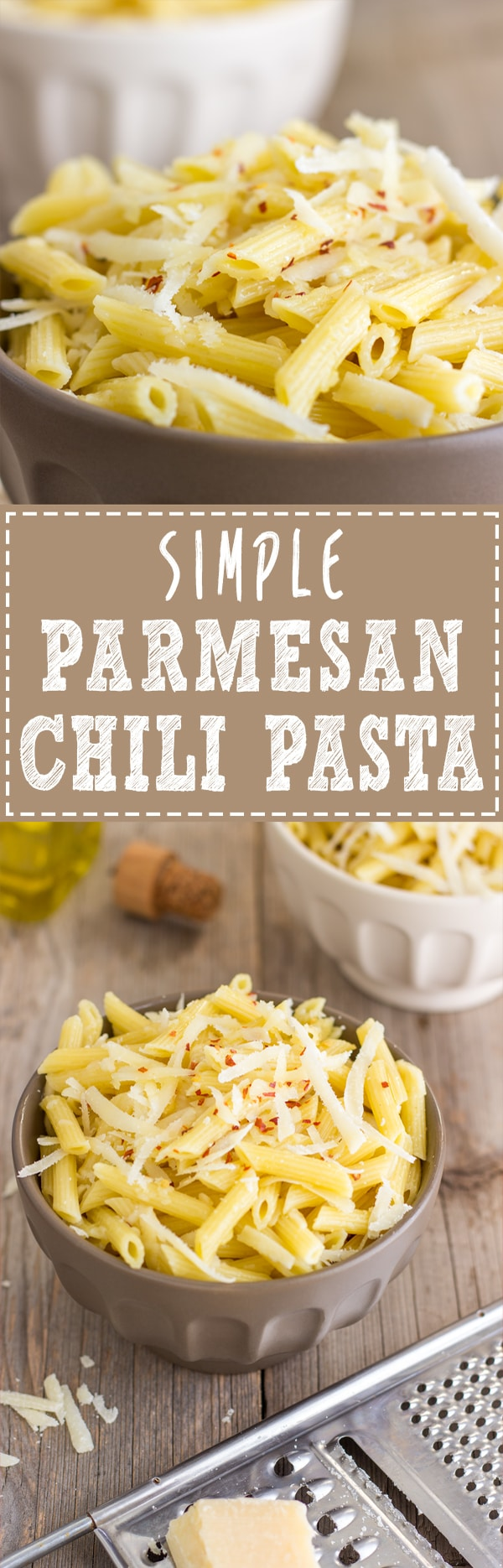 Simple Parmesan Chili Pasta - This is the easiest and fastest pasta recipe ever! All you have to do is cook the pasta, pour over some good quality extra virgin olive oil, add parmesan + chili flakes, mix well and you are ready to serve! | happyfoodstube.com