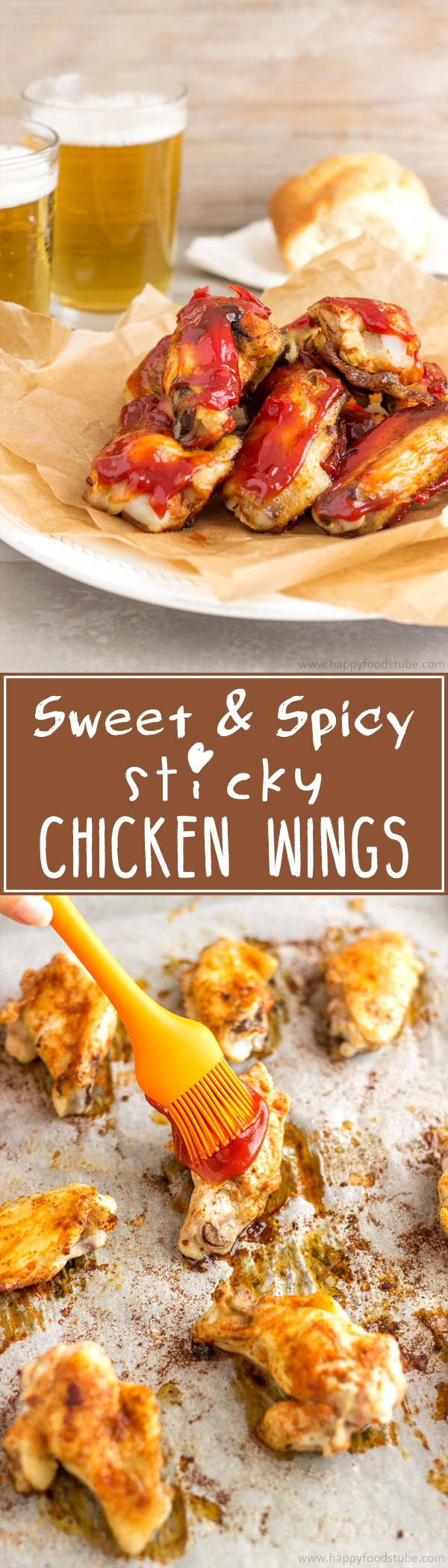 Easy Sweet and Spicy Sticky Chicken Wings. Baked in the oven with the best chicken wing sauce recipe! Simple ingredients, 5 min to prepare, 45 min in the oven!   happyfoodstube.com