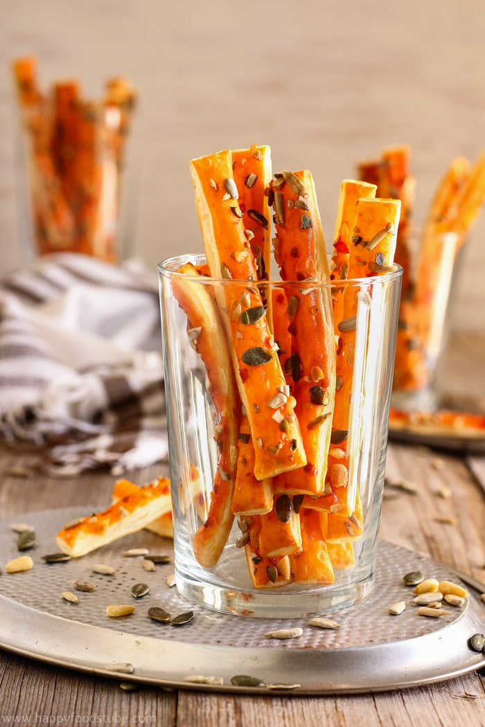 Sweet Chili Puff Pastry Breadsticks with Seeds Image