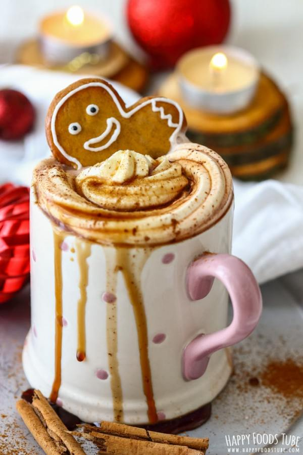 Gingerbread Hot Chocolate with Gingerbread Man Image