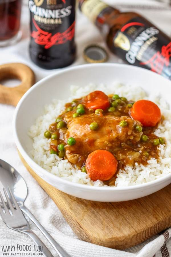 Instant Pot Guinness Chicken Thighs served with rice