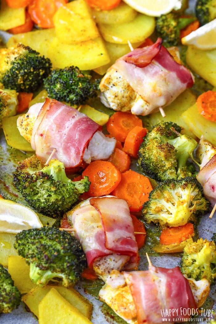 Sheet Pan Bacon Wrapped Chicken & Veggies closeup