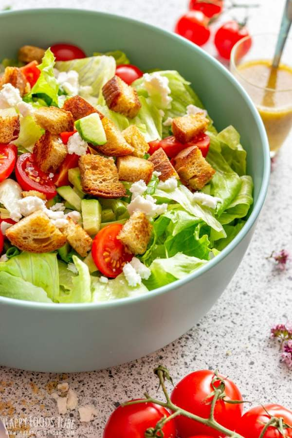 Goat Cheese Salad with Crispy Croutons and Walnut Dressing