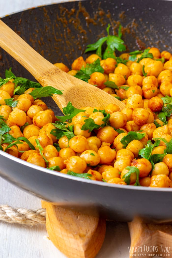 Frying Chickpeas and Parsley for Apple Chickpea Salad