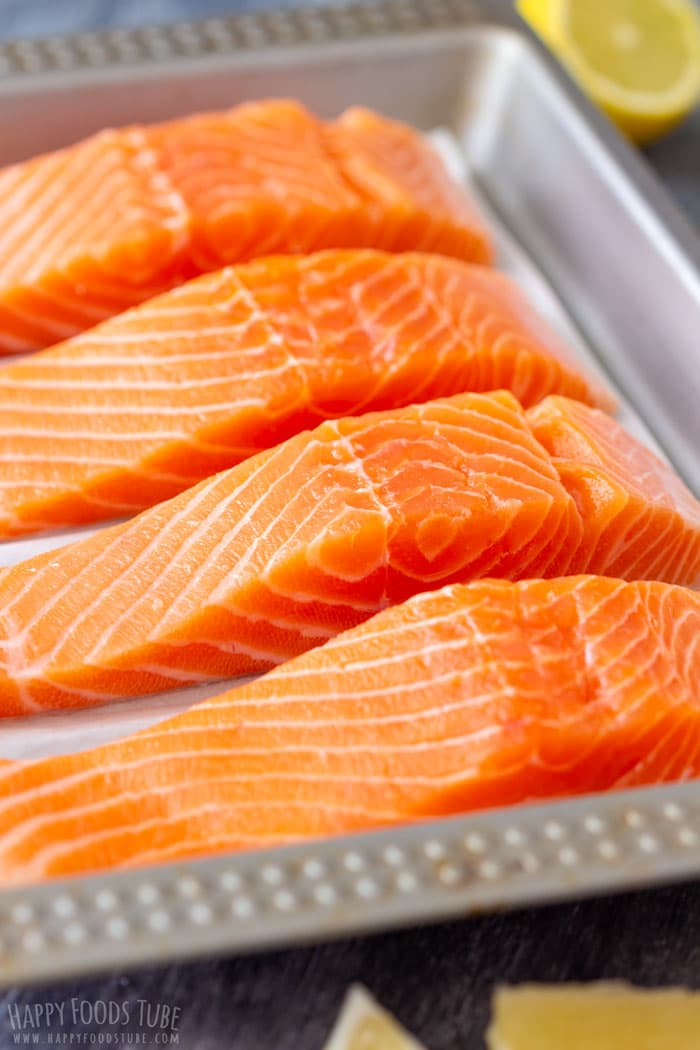 Raw Salmon Fillets on the Baking Tray