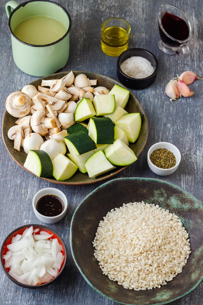 Instant Pot Zucchini Mushroom Risotto Ingredients