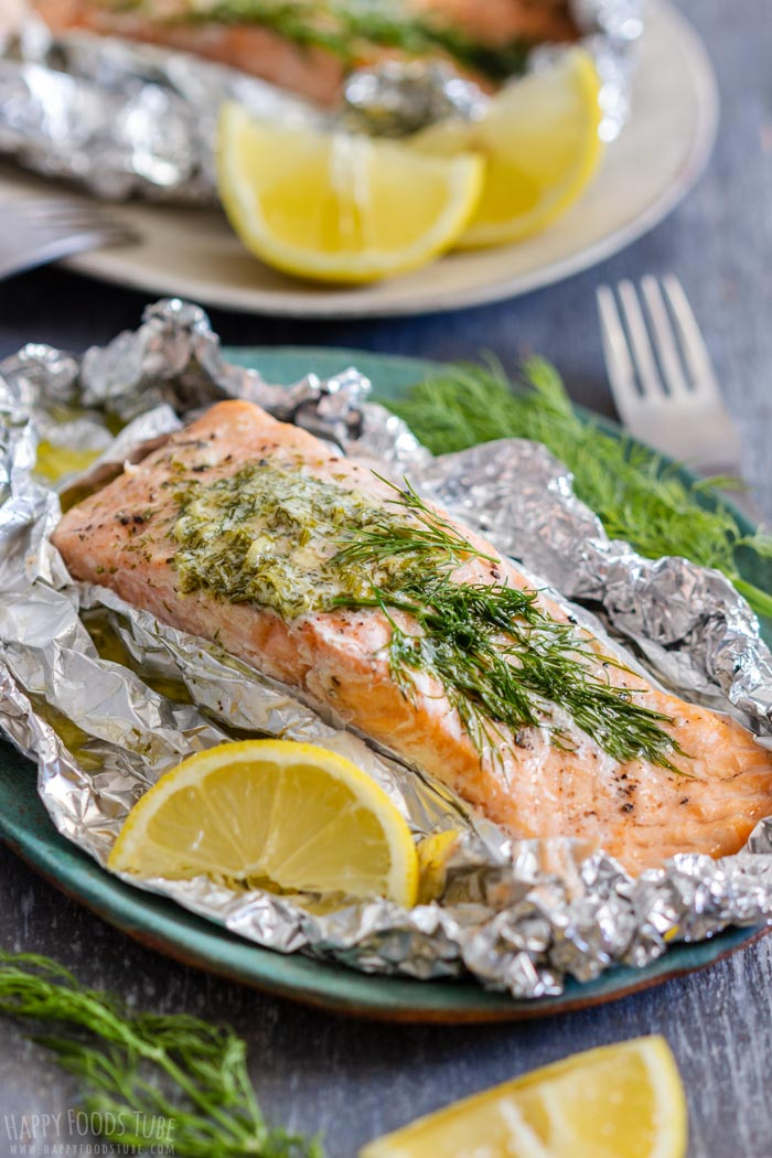 Grilled Salmon Foil Packets with Lemon Dill Compound Butter