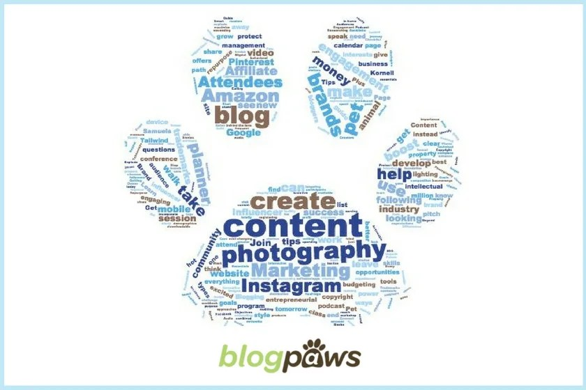 BlogPaws 2018 Conference Word Cloud from Session Overviews
