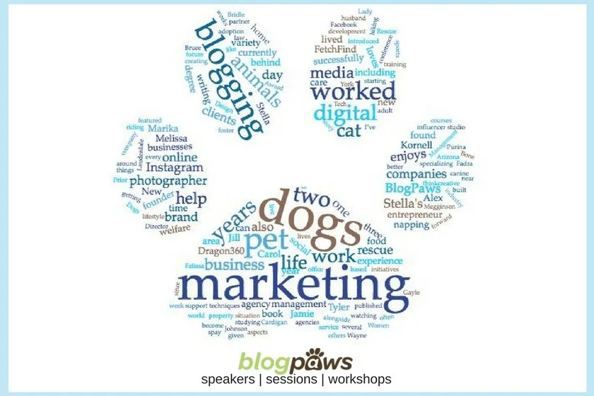 Word cloud of text from the BlogPaws Conference Speaker bios
