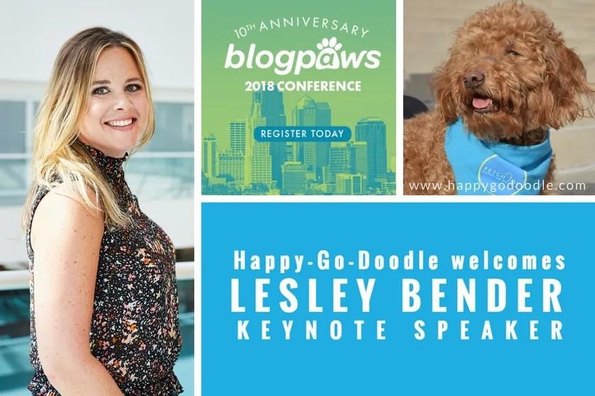 BlogPaws Conference Keynote Speaker Lesley Bender and BlogPaws logo with Happy-Go-Doodle dog