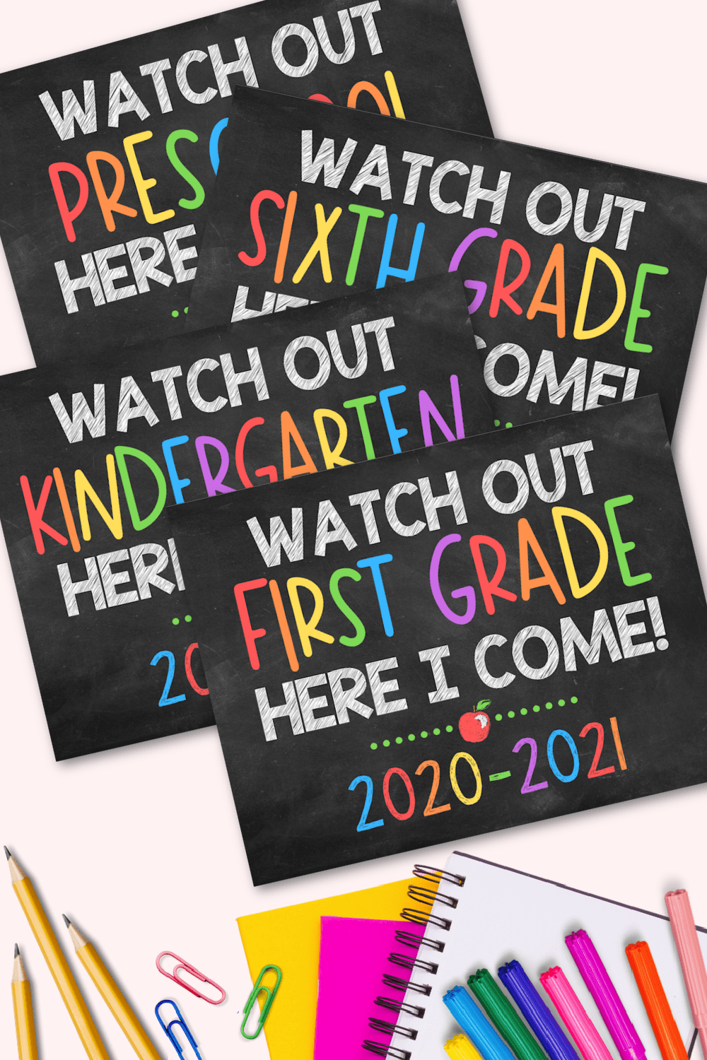 hight resolution of First Day of School Signs - Free Printables for All Grades