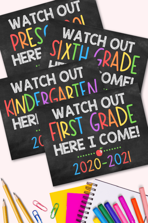 small resolution of First Day of School Signs - Free Printables for All Grades